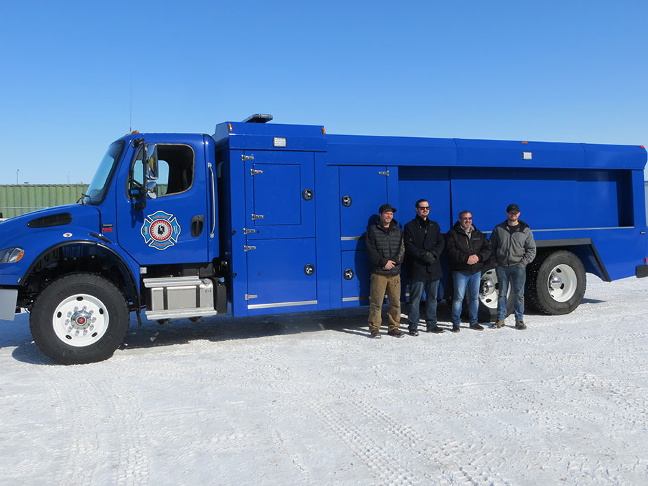 Delivering, training and testing a custom built fire truck with Louis Bull Tribe